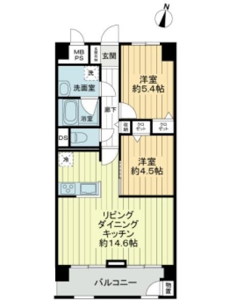東建金町マンションの間取図/2F/2,180万円/2LDK/57.2 m²