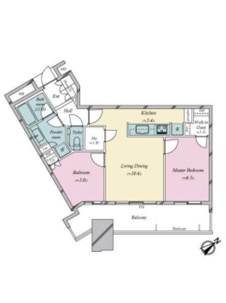 スカイズ タワー&ガーデンの間取図/29F/5,980万円/2LDK/60.34 m²