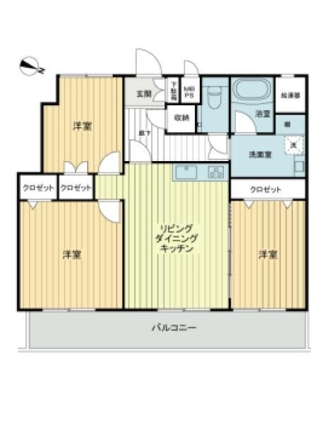 東建ニューハイツ西新宿の間取図/11F/6,180万円/3LDK/72.6 m²