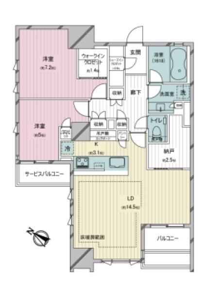 ザ・マジェスティコート目黒の間取図/11F/10,580万円/2LDK/75.11 m²