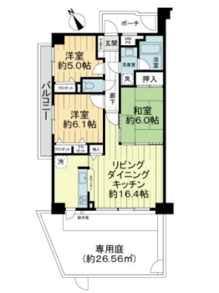 プランヴェール湘南鵠沼の間取図/1F/2,880万円/3LDK/72.55 m²