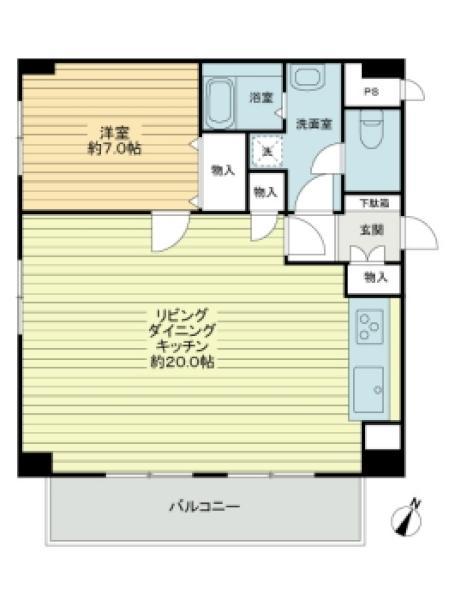 東建ニューハイツ西新宿の間取図/9F/4,980万円/1LDK/62.32 m²