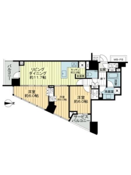 Brillia Tower 代々木公園 CLASSYの間取図/2F/11,800万円/3LDK/76.8 m²
