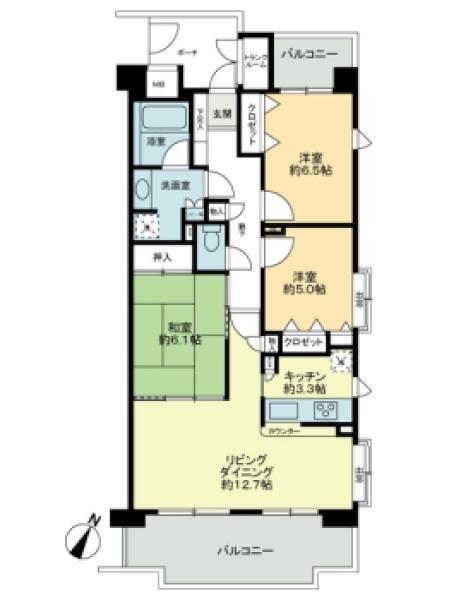 プランヴェール東戸塚の間取図/5F/2,680万円/3LDK/77.74 m²