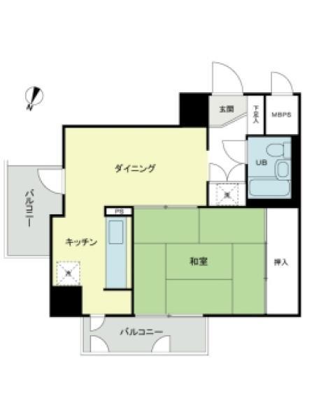 東建ニューハイツ西新宿の間取図/8F/2,780万円/1DK/33.78 m²