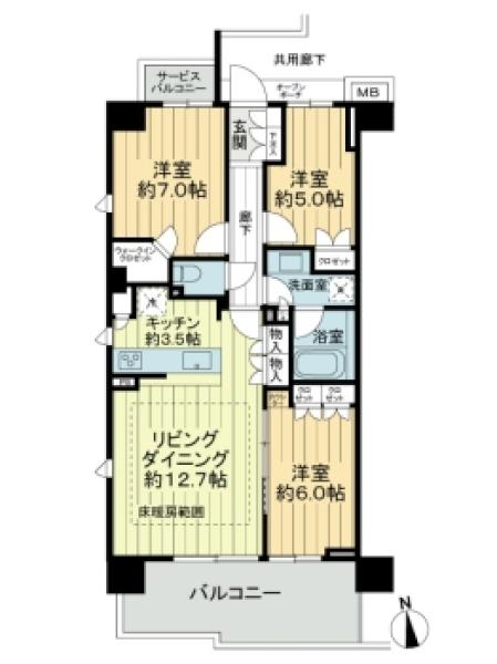 Brilliaレジデンス調布国領町の間取図/2F/5,080万円/3LDK/75.52 m²
