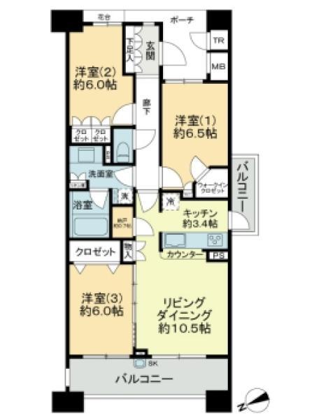 グランエスタの間取図/9F/4,980万円/3LDK/76.87 m²