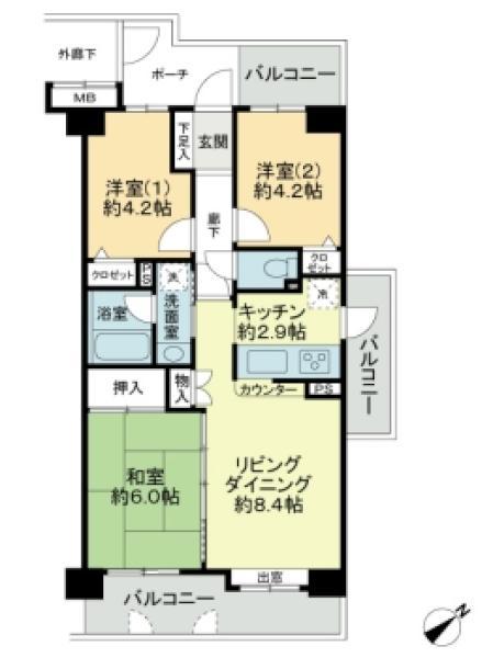 プランヴェール谷塚の間取図/2F/1,680万円/3LDK/56 m²