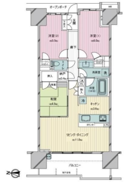 Brillia越谷レイクタウンの間取図/6F/3,190万円/3LDK/70.97 m²