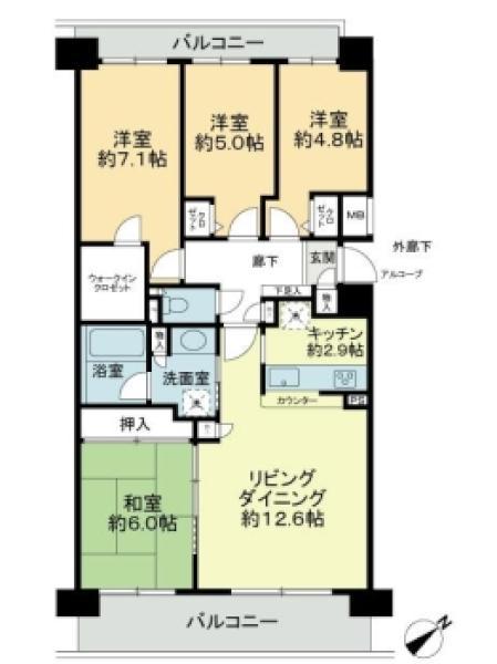 プランヴェールせせらぎの丘の間取図/8F/2,190万円/4LDK/84.6 m²