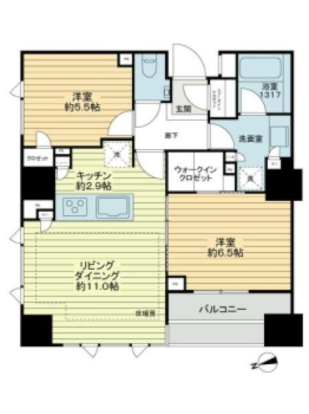 Brillia砧公園の間取図/4F/4,980万円/2LDK/61.5 m²