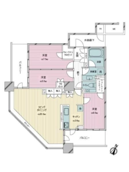 Brillia有明SkyTowerの間取図/26F/9,800万円/3LDK/93.55 m²