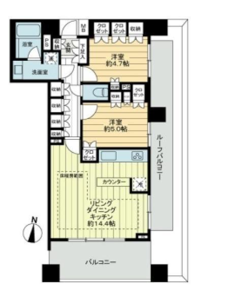 Brillia神楽坂idの間取図/7F/8,480万円/2LDK/60.17 m²
