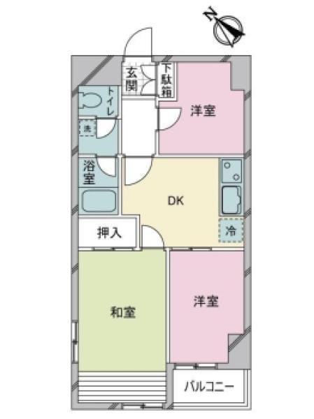 シティハイツ湊の間取図/2F/2,960万円/3DK/44.46 m²