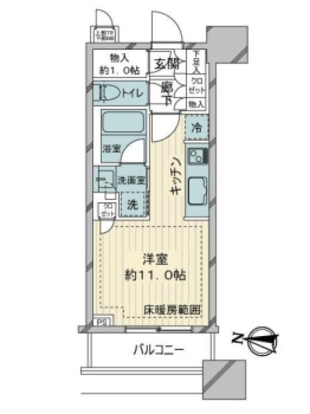 BrilliaTowers目黒ノースレジデンスの間取図/3F/6,400万円/1R/30.99 m²