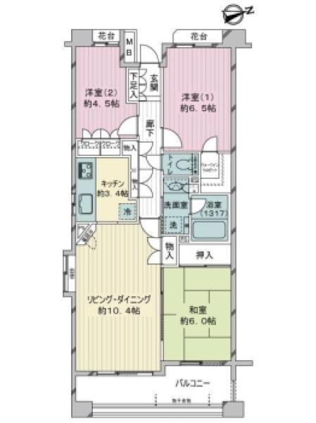 パークヴェール橋本の間取図/4F/1,800万円/3LDK/71.59 m²