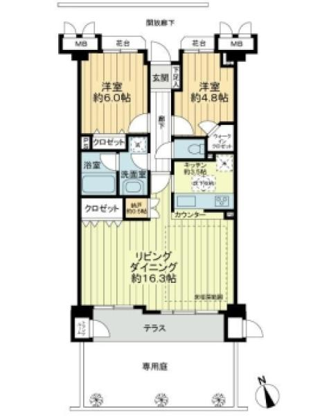 プランヴェール向ヶ丘東の間取図/1F/2,490万円/2LDK/68.44 m²