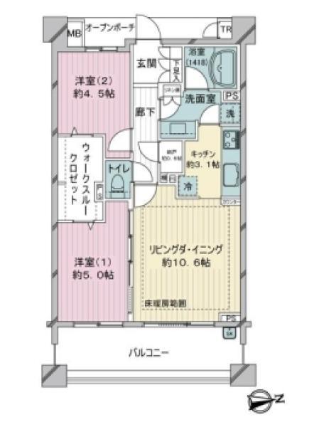 Brillia成増アーバンテラスの間取図/5F/5,480万円/2LDK/63.41 m²