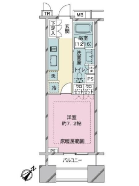 ブリリア銀座idの間取図/12F/4,180万円/1K/26.69 m²