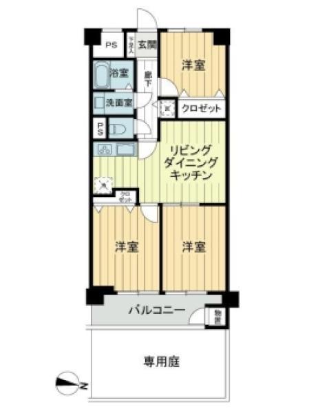 東建西ケ丘マンションの間取図/1F/2,490万円/3LDK/58.86 m²