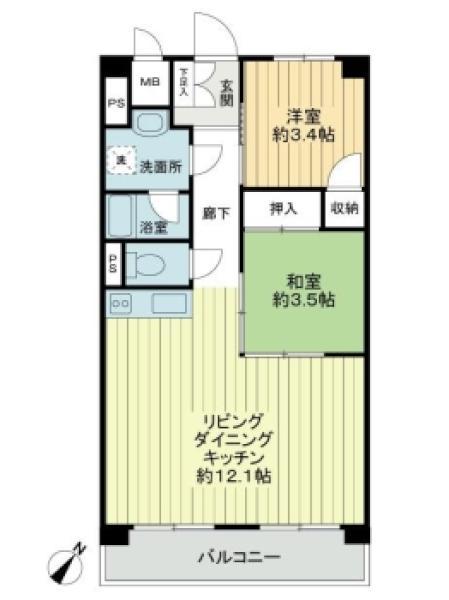 ニューハイツ田園調布の間取図/2F/2,680万円/2LDK/49.68 m²