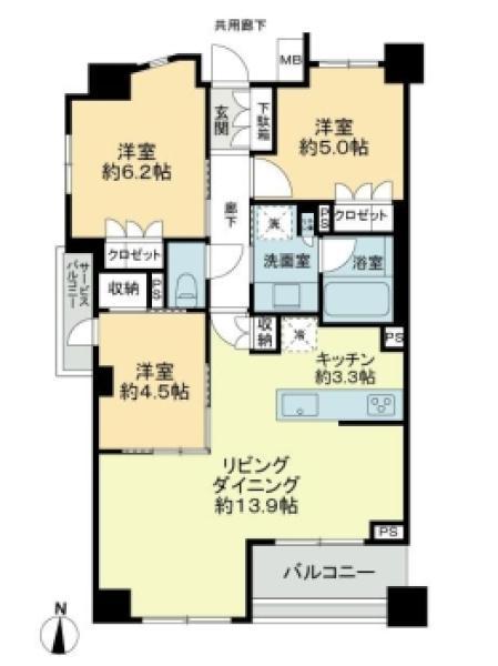 Brillia中野の間取図/4F/7,980万円/3LDK/71.09 m²