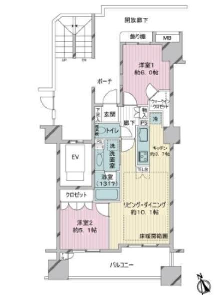 エムステージ・イースティアの間取図/8F/3,880万円/2LDK/57.1 m²