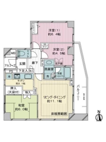 アールヴェール杉並今川の間取図/2F/4,390万円/3LDK/68.36 m²