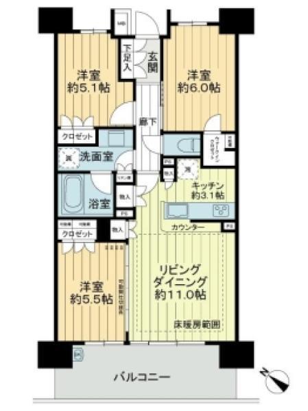 ザ・グランリバーフォート高砂の間取図/11F/4,280万円/3LDK/69.52 m²