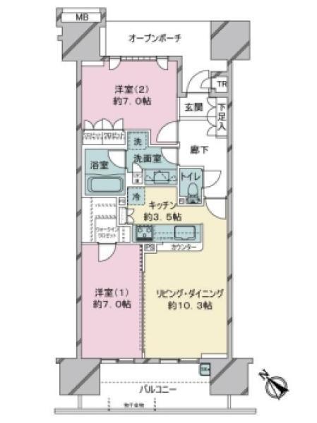 東京フロントコートの間取図/4F/6,080万円/2LDK/65.83 m²