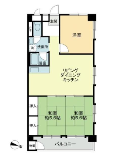 東建多摩川マンションの間取図/5F/1,480万円/3LDK/66 m²