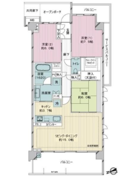ブリリアシティ横浜磯子A棟の間取図/5F/4,980万円/3LDK/88.01 m²