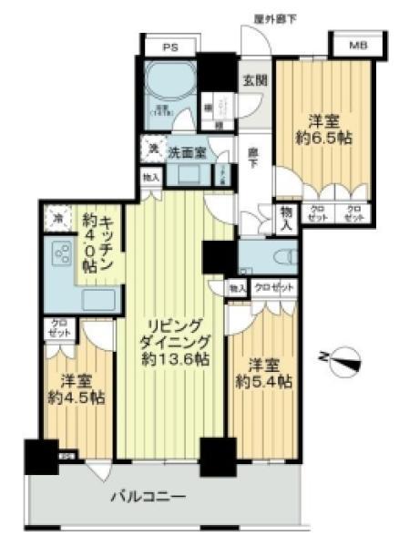 THE KOSUGI TOWERの間取図/28F/6,880万円/3LDK/75.42 m²