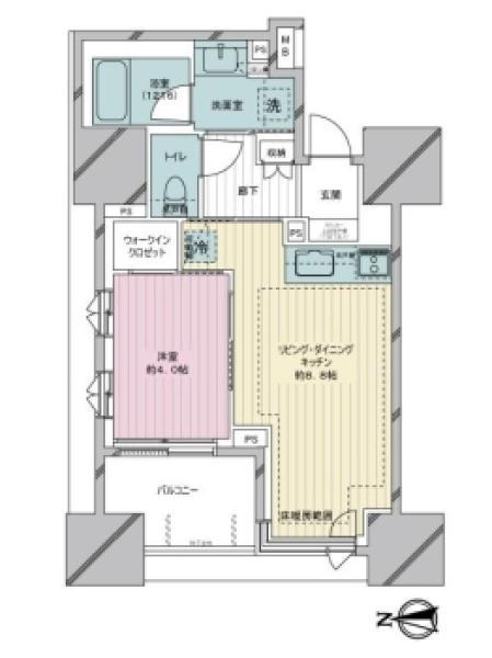 Brillia亀戸の間取図/7F/4,480万円/1LDK/35.45 m²