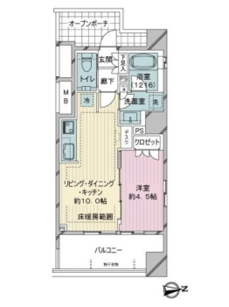Brillia千代田左衛門橋の間取図/11F/5,580万円/1LDK/35.51 m²