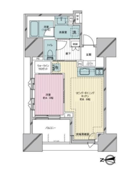 Brillia亀戸の間取図/7F/4,380万円/1LDK/35.45 m²