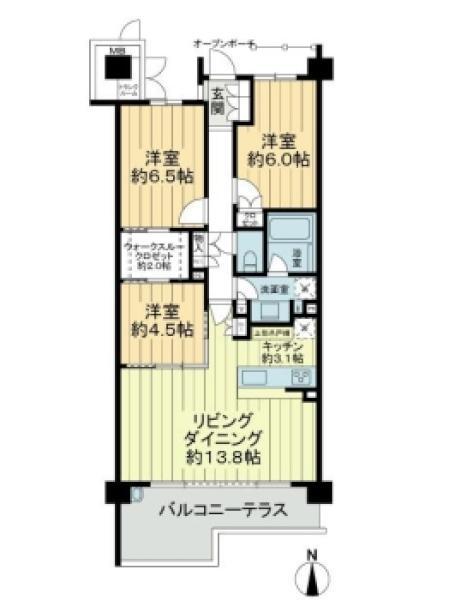 オーシャンレジデンス辻堂海浜公園の間取図/4F/4,380万円/3LDK/76.37 m²