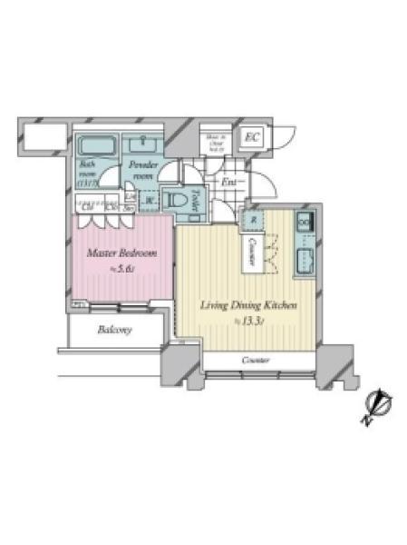 THE ROPPONGI TOKYOの間取図/13F/11,000万円/1LDK/47.16 m²