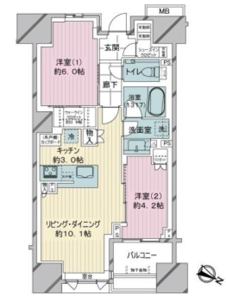 ザ・マジェスティコート目黒の間取図/6F/7,980万円/2LDK/56.28 m²