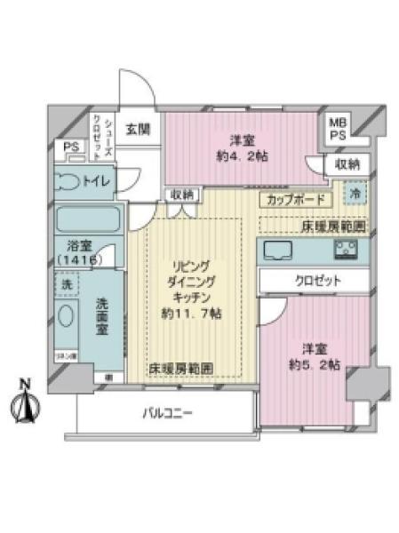 東建島津山南ハイツの間取図/9F/5,280万円/2LDK/51.04 m²