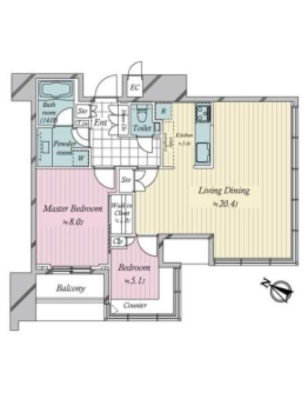 THE ROPPONGI TOKYOの間取図/21F/20,980万円/2LDK/80.56 m²