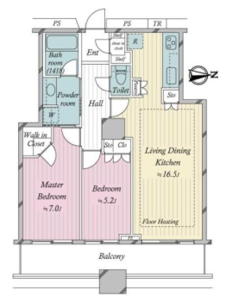 ラグナタワーの間取図/7F/6,780万円/2LDK/66.62 m²