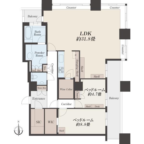 高輪ザ・レジデンスの間取図/39F/25,000万円/2LDK/121.99 m²