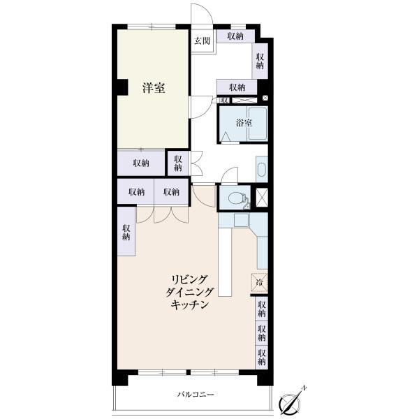 東建参宮橋マンションの間取図/7F/4,100万円/1LDK/63.18 m²