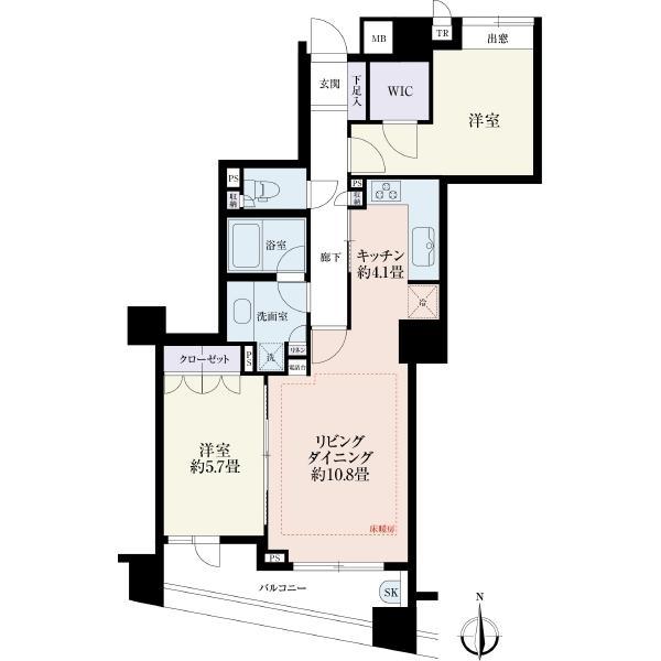 アークスクエア鷺ノ宮の間取図/6F/3,880万円/2LDK/64.75 m²