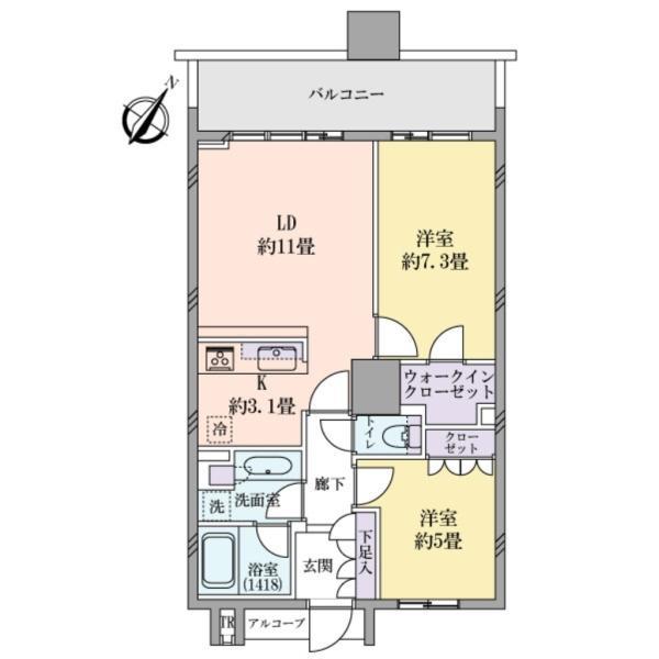 BrilliaMare有明タワー&ガーデンの間取図/26F/5,480万円/2LDK/61.07 m²