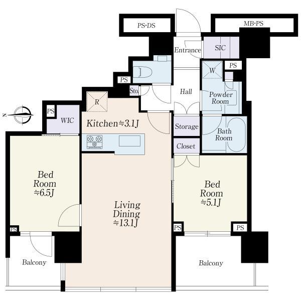 ブリリアタワー代々木公園クラッシィの間取図/6F/12,700万円/2LDK/64.58 m²