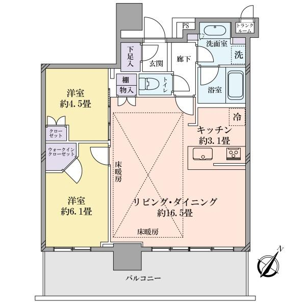 ブリリア有明シティタワーの間取図/16F/5,645万円/2LDK/65.88 m²