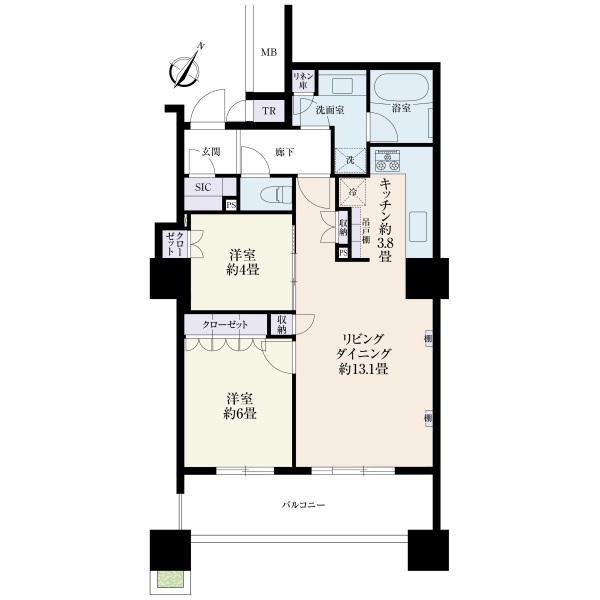 ブリリア有明スカイタワーの間取図/5F/5,180万円/2LDK/63.27 m²
