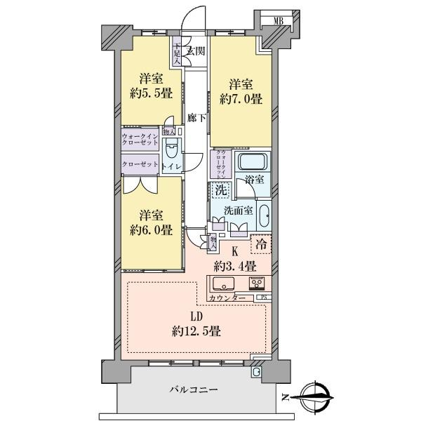ブリリアシティ横浜磯子 E棟の間取図/10F/4,200万円/3LDK/78.86 m²